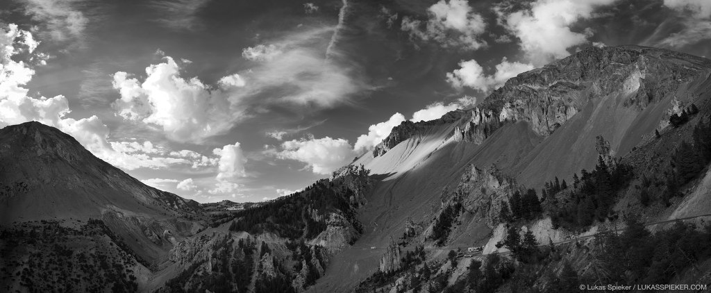 Panoramic view of Col d'Izoard (2360 m) with La Casse Deserte on the south.