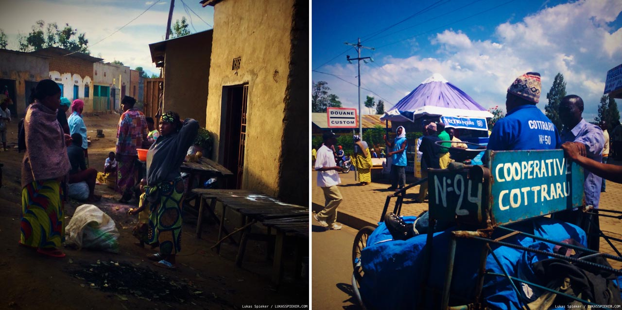 Left: Early morning in a village near Rubona in Rwanda. Right: Petit Barrier: A tricycle carries goods over the border between Gisenyi and Goma.