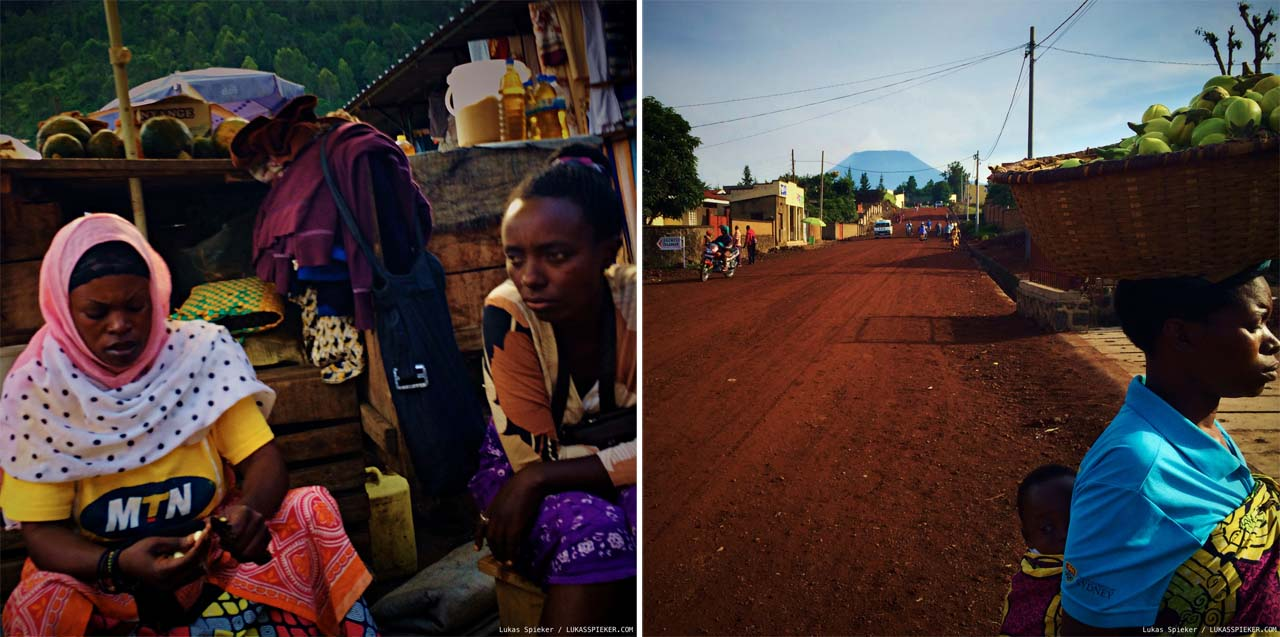 Left: Marketplace in Gisenyi, Rwanda. Right: At the foot of Nyiragongo volcano: Avenue de l'Umuganda in Gisenyi, Rwanda.
