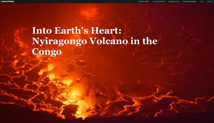 Nyiragongo volcano in the Democratic Republic of the Congo contains the Earth's largest lava lake.