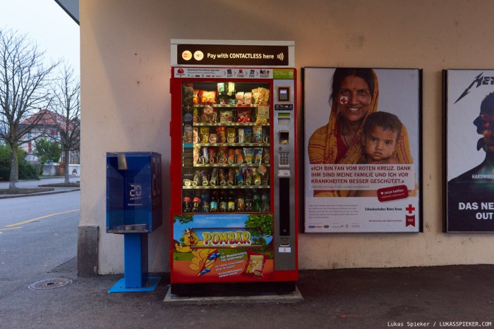Snack vending machine at the train station in Lengnau.