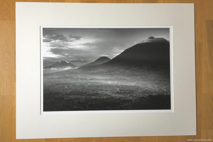 The Virunga mountains at dusk. Printed on Ilford Galerie Gold Fibre Silk paper in 40x60 cm.
