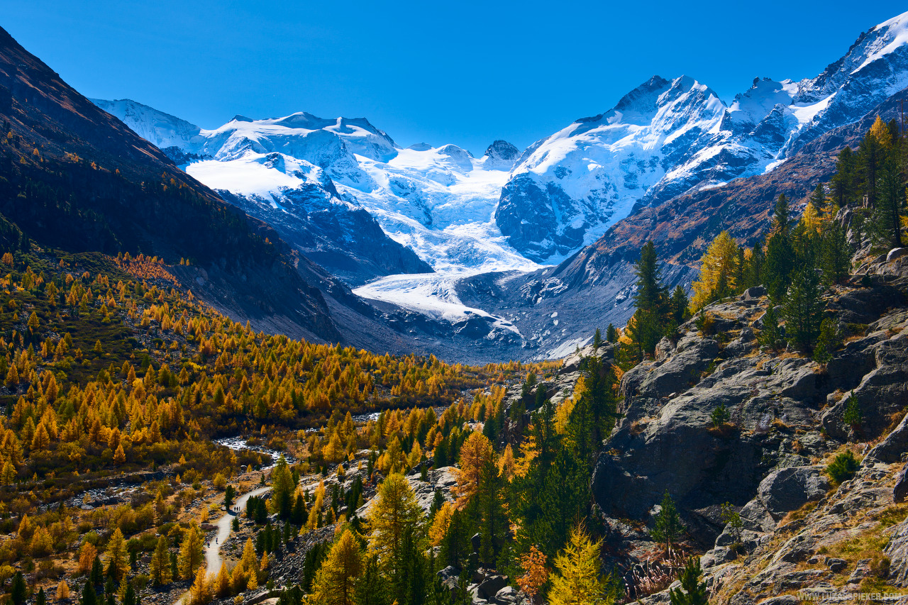 Morteratsch glacier in the Bernina range of the Swiss alps. The glacier has shrunken greatly in size over the last decades. The ongoing melting of the glaciers has led to dramatic changes in the alpine landscape and will likely lead to more floods and water shortages as the eternal ice is melting due to climate change.