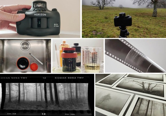 From camera to the finished prints. The Horizon S3 U-500 is a panoramic film camera. The exposed 35 mm film is exposed, the developed, and scanned. Finally, the photographs are printed.