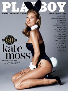 This image released by Playboy shows Kate Moss on the cover of the January/February 2014 60th anniversary issue of the gentleman's magazine. The magazine that helped usher in the sexual revolution in the 1950s and '60s by bringing nudity into America's living rooms announced this week that it will no longer run photos of completely naked women. Starting in March, 2016, Playboy's print edition will still feature women in provocative poses, but they will no longer be fully nude. (Playboy via AP)