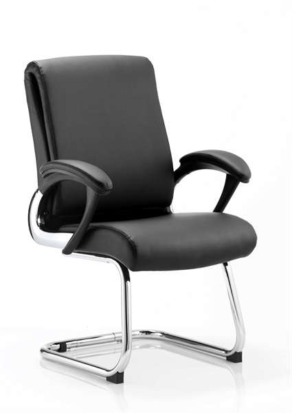 A black leather chair, with leather arms, and metal u shaped legs, on a white background.