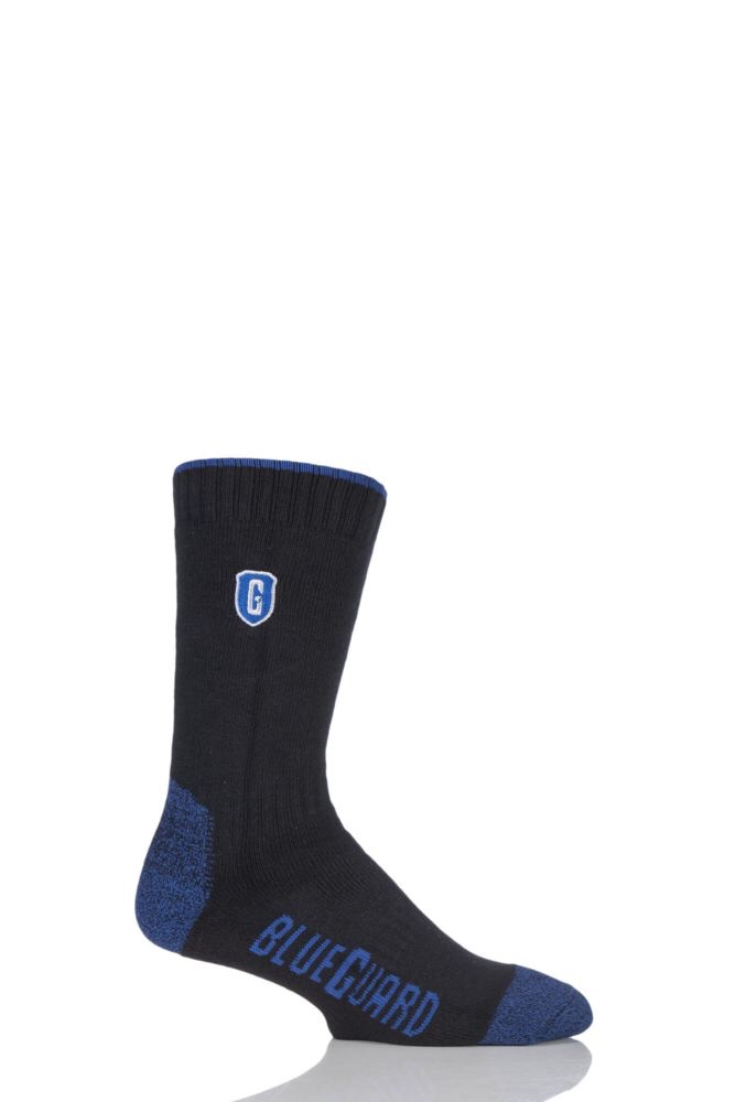 A long black sock with a blue tip and heel and a blue shield logo on it's leg, on a light background.