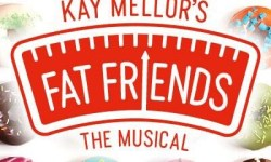 A poster that has kay mellor's written in bold red writing, Fat Friends the musical written in bold white writing, a picture of some weighing scales and a border of some various different coloured iced doughnuts on it, on a white background.