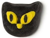 A black cats head shaped bubble bar, on a white Background.