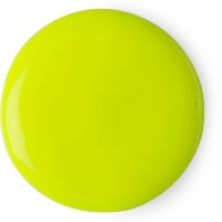 A circular blob of green liquid, on a white background.