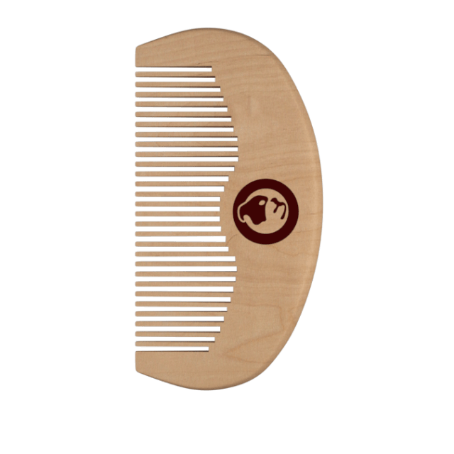 A large semi-circular dark wooden beard comb, on a white background.
