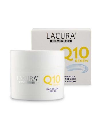 A short square white cardboard box that has Aldi Lacura written in small black writing, Q10 written in small gold writing, day Cream with SPF20 written in small white writing and a picture of a short cylindrical white plastic tub full of some white cream on it, on a white background.