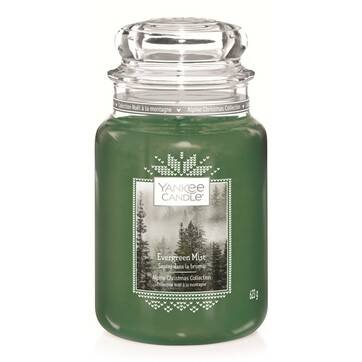 A tall glass jar full of some pale green wax with a label that has Yankee Candle written in black writing, Evergreen Mist written in white writing, and a picture of some green coloured air on it, on a white background.