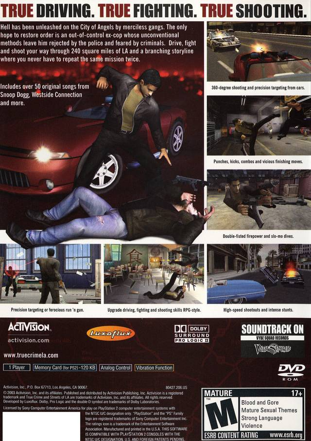 True Crimes Streets Of LA Sony Playstation 2 Game