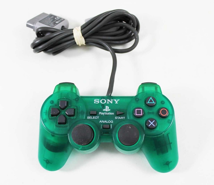 PS1 Original Dual Shock CLEAR GREEN Controller