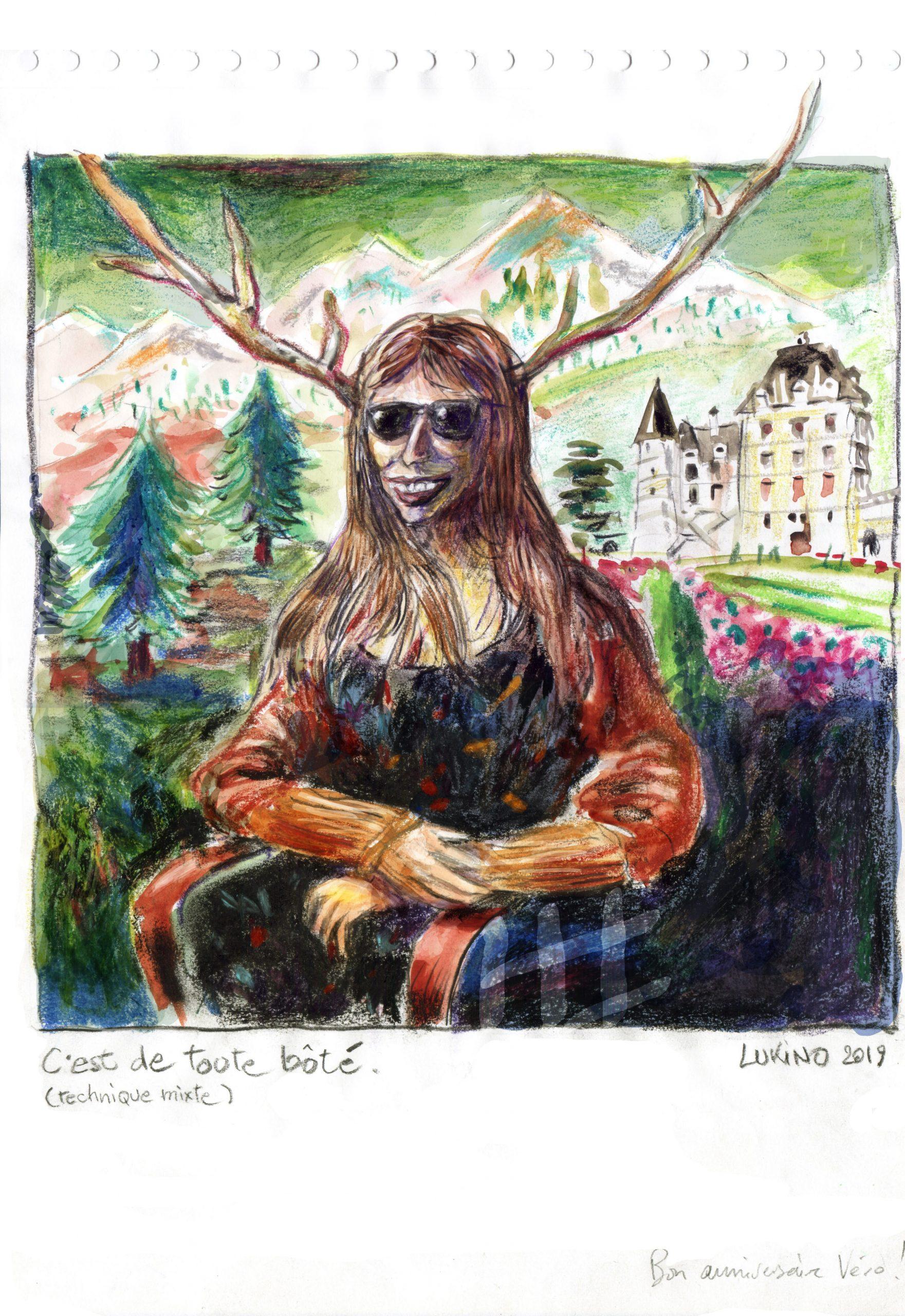 Portrait de l'artiste Velec devant le chateau de Vizille