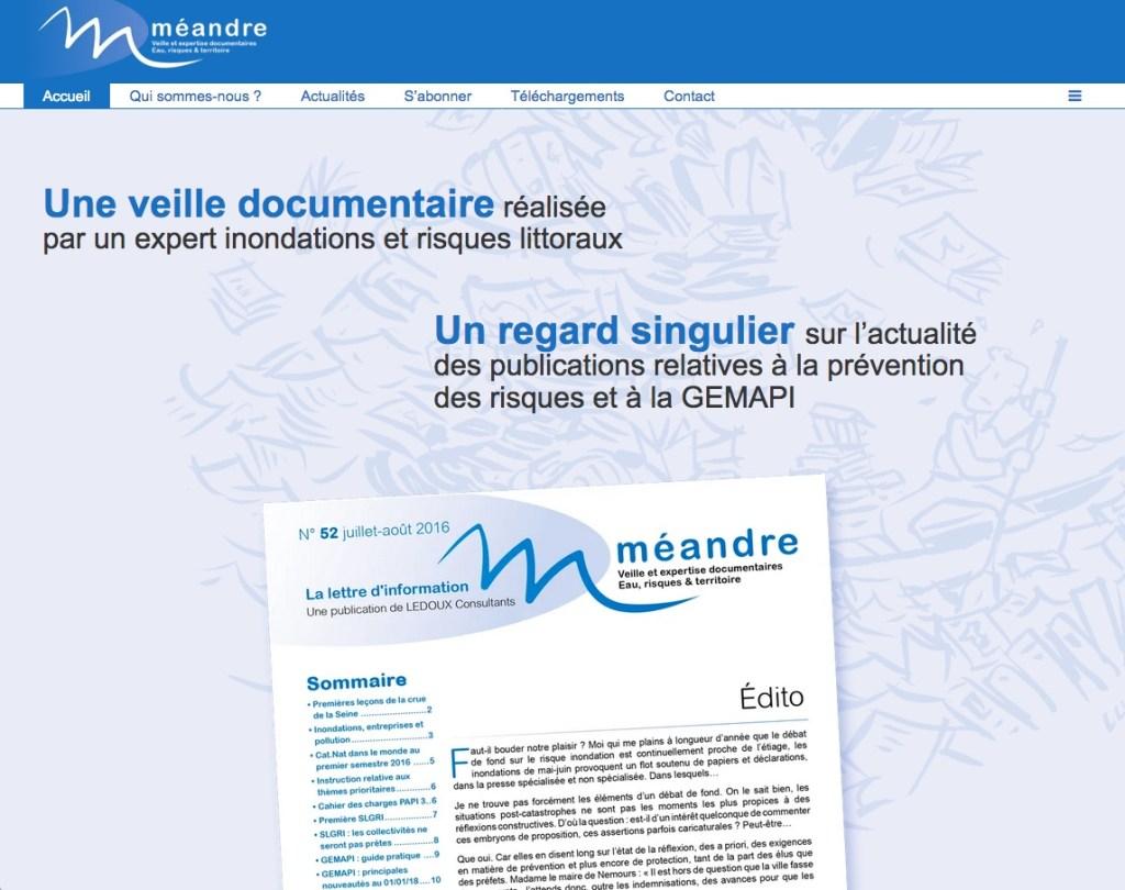 Page d'accueil du site Méandre