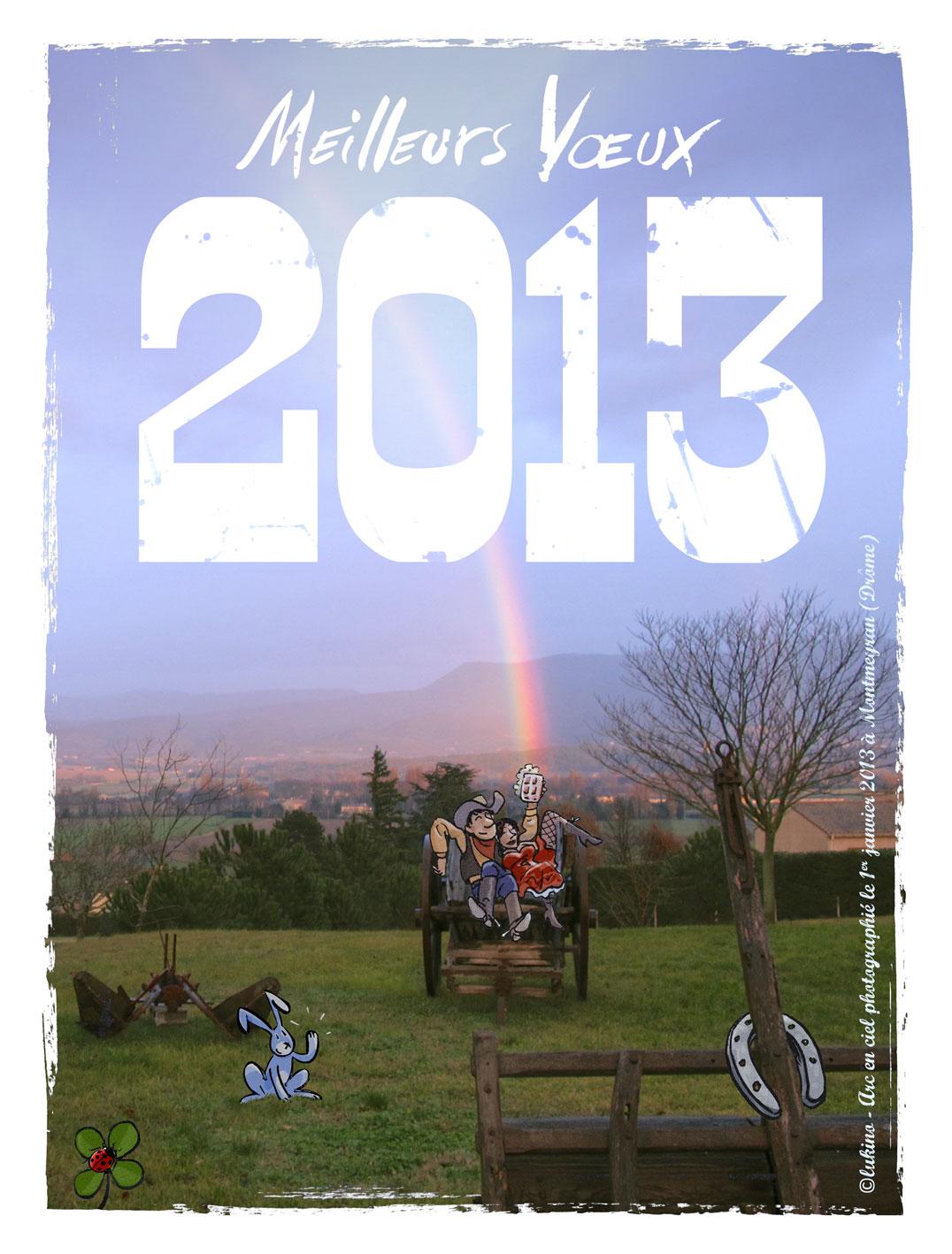 Arc en ciel, trèfle à 4 feuilles, fer à cheval, coccinelle, patte de lapin, bois, à Montmeyran