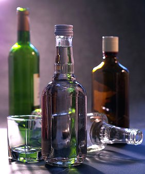 Empty bottles of alcohol during detox and sobriety