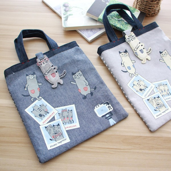Japanese cat-shaped magnetic buckle fabric embroidered cat bag knitted fabric shopping small handbag handbag handbag handbag