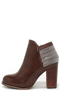 All Lined Out Brown High Heel Booties