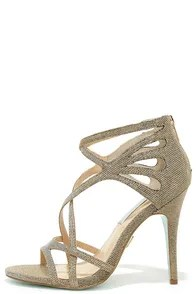 Blue by Betsey Johnson Talia Gold Caged Dress Sandals