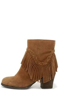 Sbicca Patience Tan Suede Leather Fringe Booties