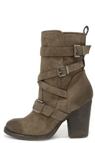 Madden Girl Kloo Stone Buckled Mid-Calf Boots
