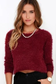 Billabong Liv Forever Wine Red Cropped Sweater