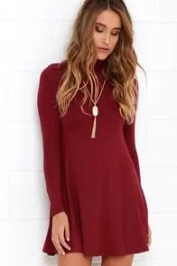 Sway, Girl, Sway! Wine Red Swing Dress