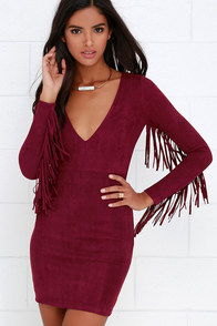 Still Wild Burgundy Suede Fringe Dress