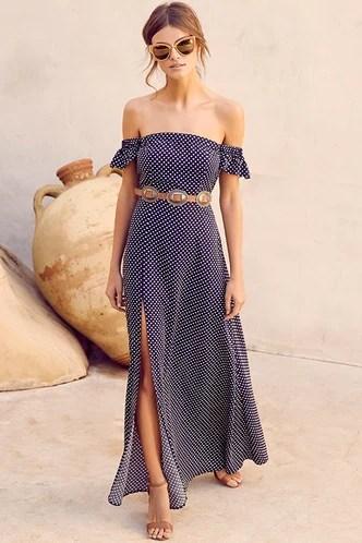 Sonho amor azul marinho bolinhas Off-a-ombro Maxi vestido 1
