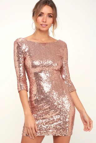 Delightful Ways Rose Gold Sequin Dress