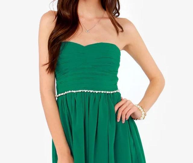 What A Treasure Strapless Emerald Green Dress