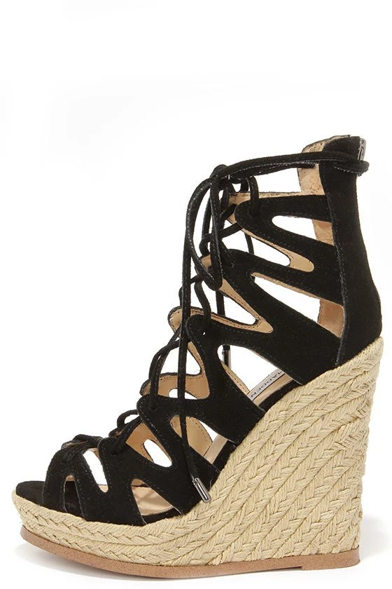 Cute Black Suede Wedges Lace Up Heels Wedge Sandals
