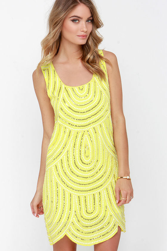 Sequin Dress Yellow Dress Shift Dress 7900