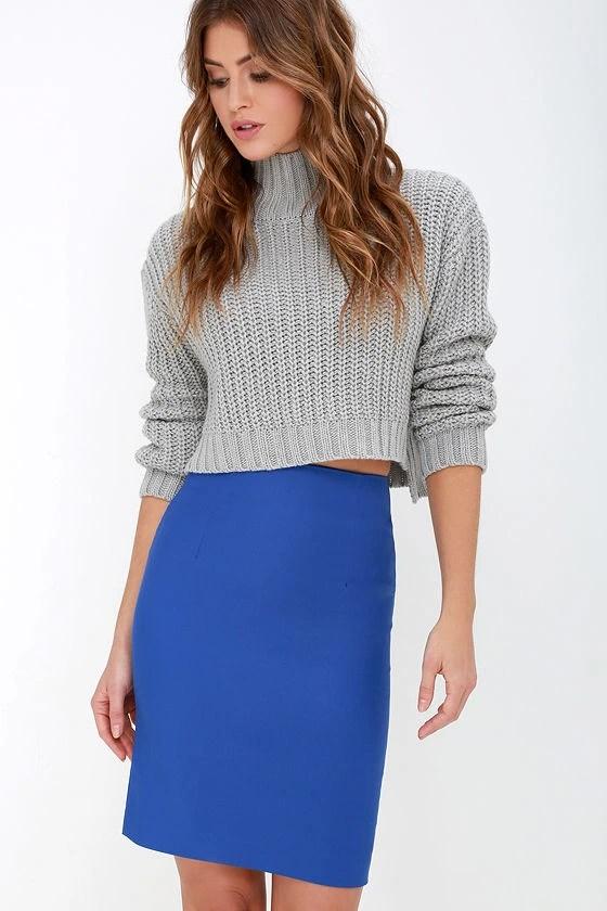Chic Royal Blue Skirt High Waisted Skirt Midi Skirt Pencil Skirt 3800
