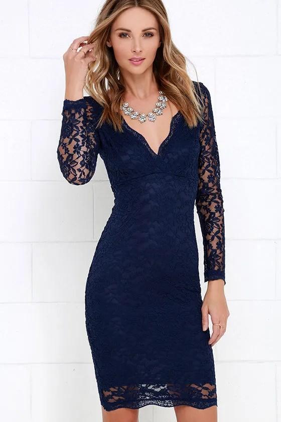 Lovely Navy Blue Dress Lace Dress Midi Dress 4900