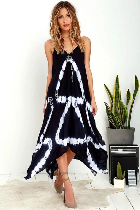 Fun Navy Blue Dress Tie Dye Dress Print Dress 6400