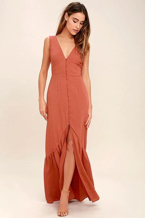 Lovely Rust Orange Dress Maxi Dress Sleeveless Dress
