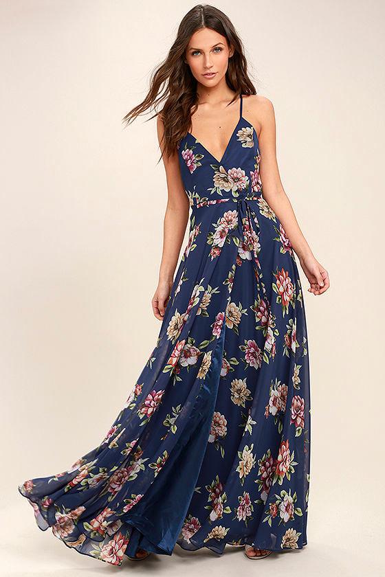 Lovely Navy Blue Floral Print Dress Maxi Dress Wrap