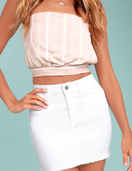Pop and Lock White Denim Mini Skirt
