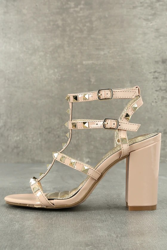 Camila Nude Patent Studded Ankle Strap Heels