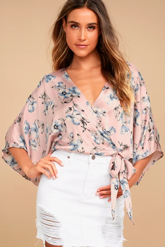 BREATH OF LIFE BLUSH PINK FLORAL PRINT CROP TOP