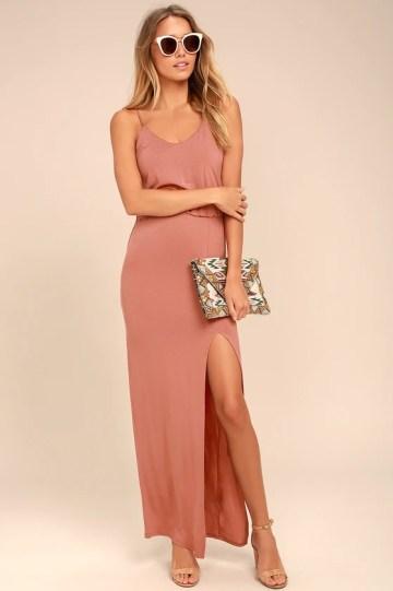 Watch the Sunset Rusty Rose Maxi Dress