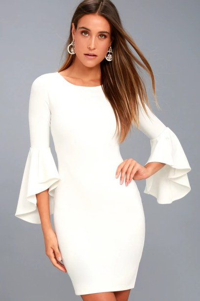 Gimme Some Flair White Flounce Sleeve Bodycon Dress