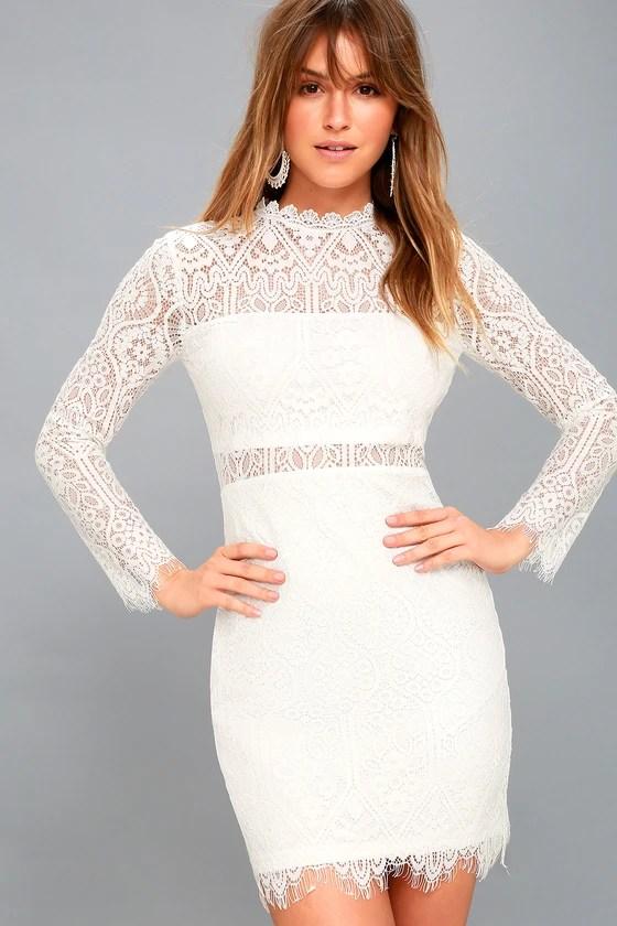 bec2c4df32 Appetite for Seduction White Lace Long Sleeve Dress - Lulus
