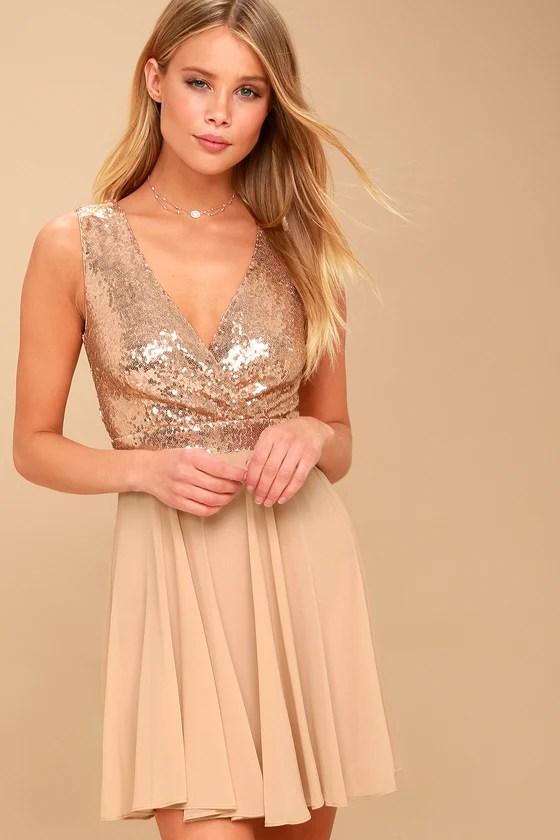 Stunning Rose Gold Sequin Dress Sequin Skater Dress