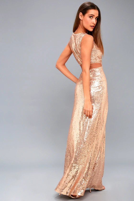 Lovely Rose Gold Sequin Maxi Dress Cutout Maxi Dress
