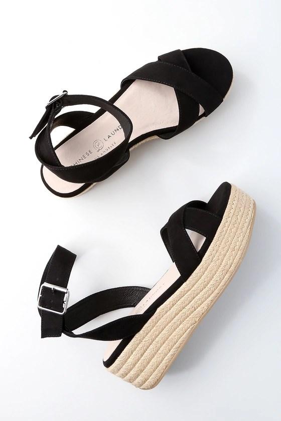 Chinese Laundry Zala Black Sandals Flatform Sandals